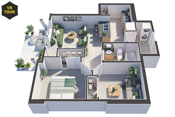 Cali (1 Bedroom + Den) VR 600x400